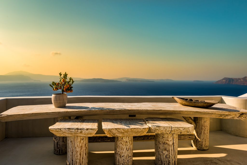 live-edge table in sunset